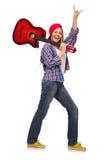 Женщина при изолированная гитара Стоковое Изображение
