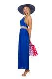 Женщина при изолированные хозяйственные сумки Стоковое Изображение RF