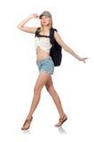 Женщина при изолированный рюкзак Стоковая Фотография