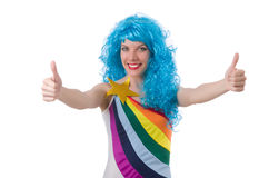 Женщина при красочный изолированный парик Стоковая Фотография RF