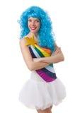 Женщина при красочный изолированный парик Стоковые Фото