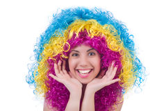 Женщина при красочный изолированный парик Стоковые Изображения