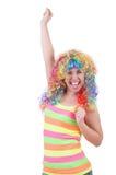 Женщина при красочный изолированный парик Стоковые Изображения RF