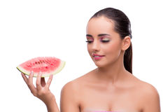 Женщина при кусок арбуза изолированный на белизне Стоковые Фото