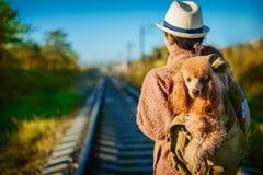 Женщина при собака в рюкзаке путешествуя к железнодорожный день осени стоковое фото rf