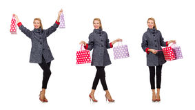 Женщина при хозяйственные сумки изолированные на белизне Стоковое Изображение RF