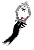 Женщина при черные перчатки смотря зеркало Стоковое Изображение RF