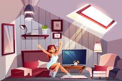 Женщина просыпая вверх в векторе спальни чердака иллюстрация штока