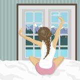 Женщина протягивая в кровати после бодрствования вверх Концепция на праздники и каникулы Пейзаж горы лета иллюстрация штока
