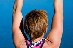 Женщина протягивая рукоятки Стоковое Фото
