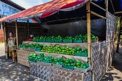 Женщина продавая манго около Malang, Индонезии стоковое фото rf