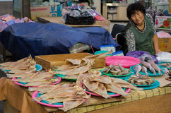Женщина продавая рыб в рынке Dongmun Стоковые Изображения RF