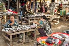 Женщина продавая рыб на азиатском рынке bagan myanmar Стоковая Фотография