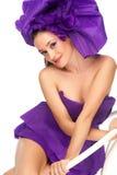 женщина пурпура платья Стоковые Изображения