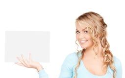 женщина пустой доски счастливая Стоковое Изображение