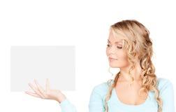 женщина пустой доски счастливая Стоковая Фотография
