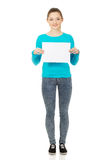 женщина пустой доски счастливая Стоковые Фото