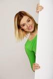 женщина пустой доски счастливая Стоковое Изображение RF