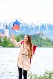 Женщина путешествуя в кровоточенный, Словения Стоковое фото RF