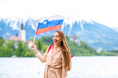 Женщина путешествуя в кровоточенный, Словения Стоковые Изображения