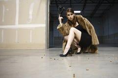 женщина пушки сексуальная стоковое изображение
