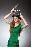 женщина платья зеленая нося Стоковое фото RF