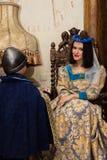 женщина платья средневековая Стоковые Изображения RF