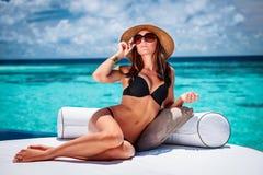 женщина пляжа сексуальная Стоковое фото RF