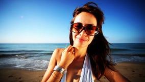 Женщина пляжа сток-видео