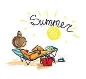 женщина пляжа sunbathing Ультрамодное ilustration вектора doodle чертежа руки Стоковая Фотография