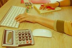 Женщина работая в офисе, сидя на столе, используя компьютер Женщина руководителя бизнеса на рабочем месте Налог коммерсантки расч Стоковое Изображение