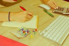 Женщина работая в офисе, сидя на столе, используя компьютер Женщина руководителя бизнеса на рабочем месте Налог коммерсантки расч Стоковая Фотография