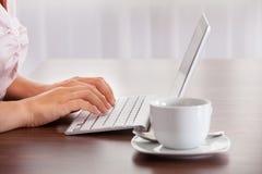 Женщина работая на компьютере Стоковая Фотография RF