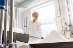 Женщина работая на транспортере фабрики мороженого Стоковая Фотография