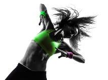 Женщина работая силуэт танцев zumba пригодности Стоковая Фотография RF