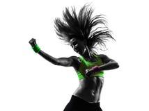 Женщина работая силуэт танцев zumba пригодности Стоковое Изображение RF