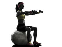 Женщина работая силуэт тренировки веса шарика пригодности Стоковая Фотография RF