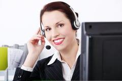 женщина работника центра телефонного обслуживания Стоковые Фотографии RF