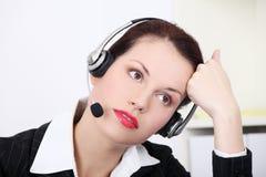 женщина работника центра телефонного обслуживания Стоковое Изображение RF
