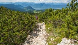 Женщина размышляя ландшафт расслабляющих одних гор концепции образа жизни перемещения здоровых солнечный на предпосылке внешней Стоковая Фотография RF