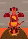 Женщина дракона защищает гнездо от яичек иллюстрация штока