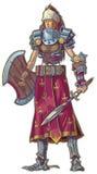 Женщина ратника с красным шаржем вектора волос Стоковое фото RF