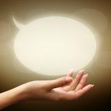 женщина речи руки пузырей Стоковая Фотография RF