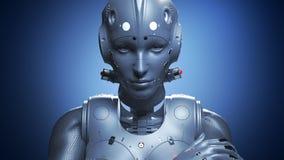 Женщина робота, искусственный интеллект женщины научной фантастики иллюстрация штока