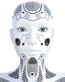 Женщина робота Droid белого металла искусственный интеллект иллюстрация штока