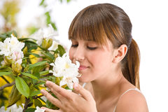 женщина рододендрона цветка цветения Стоковое Фото