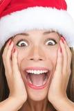 женщина рождества удивленная крупным планом Стоковая Фотография RF
