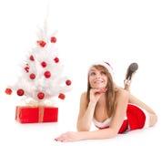 женщина рождественской елки Стоковая Фотография
