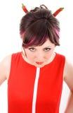 женщина рожочков дьявола chili Стоковое фото RF