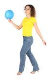женщина рубашки голубых джинсов воздушного шара Стоковые Изображения RF